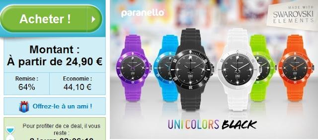 Nouvelle montre UniColors Black avec cristaux Swarovski® Elements à 24.90€ bon plan fête des meres