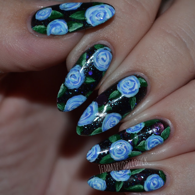 Chubby owl polish, roses, nail art, stylish nail art shop, pure color 10, Blue roses, comet dust