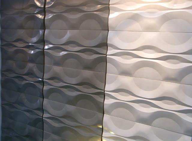Beton Fliesen grau weiß Wellenrelief