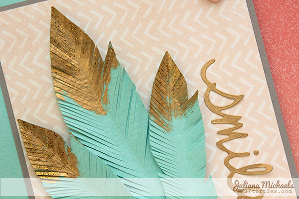 Smile Golden Feathers Card by Juliana Michaels detail