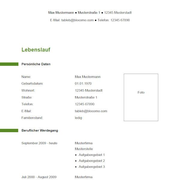 Lebenslauf vorlage modern dokument blogs - Moderne muster ...