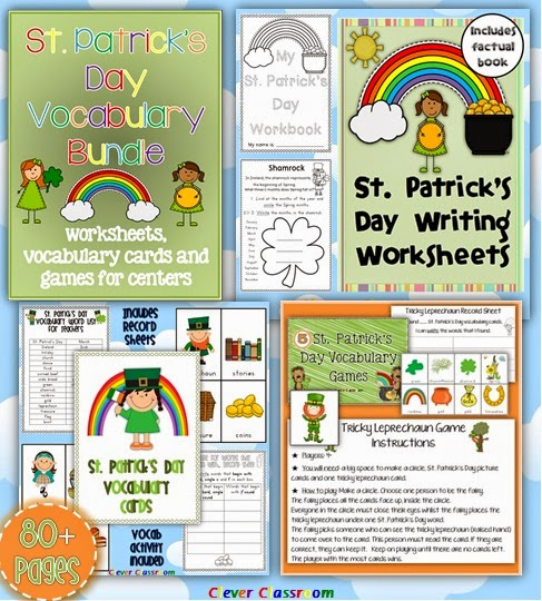 St. Patrick's Day Vocabulary Bundle Worksheets Cards and Games