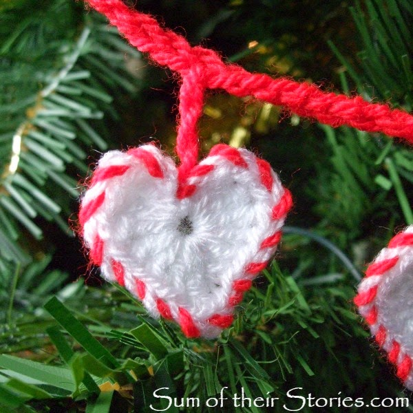crochet heart with bakers twine effect edging