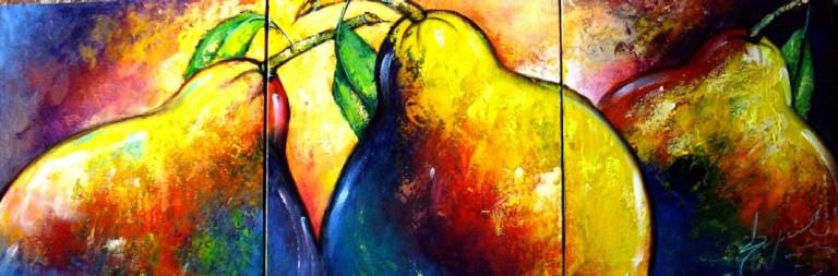 Imágenes Arte Pinturas: SUPER MODERNO: BODEGON TRIPTICO PERAS