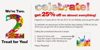 Pepperfry BirthDay Celebration: Enjoy Flat 25% Off on almost All Products (Live on 3rd Jan'14 at12.00AM)