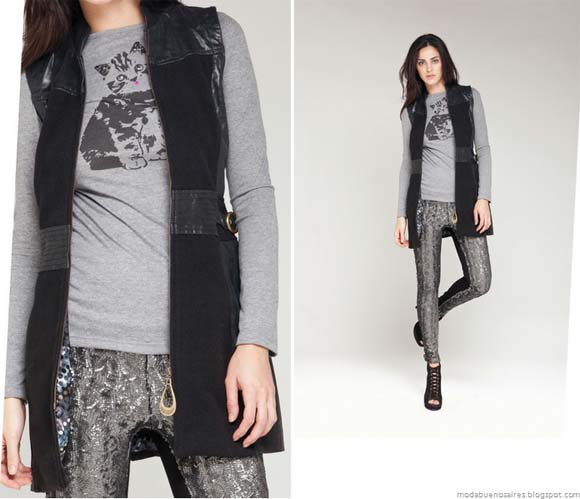 La Cofradía otoño invierno 2012. Chaleco con recortes de cuero moda mujer 2012.