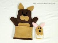 Kangaroo mother and joey hand puppets