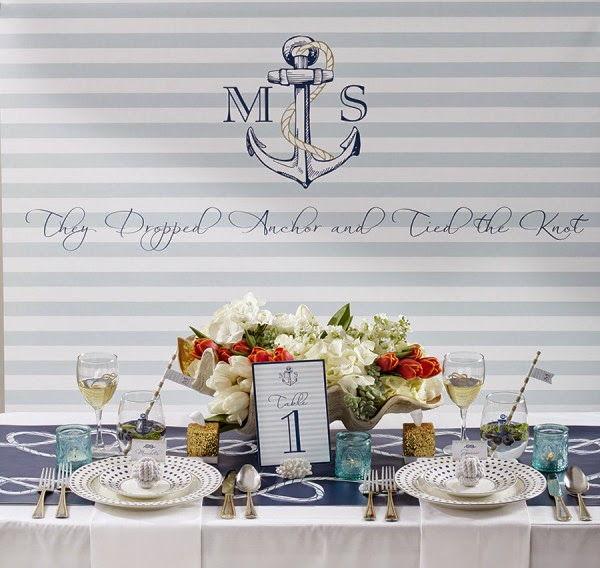 Style Me Pretty featuring Kate Aspen nautical wedding