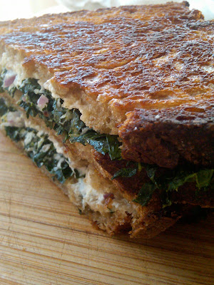 Goat cheese and Kale sandwich