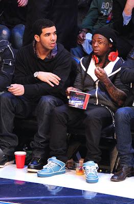 Imagen de Drake y Lil Wayne en el partido de las estrellas de la NBA 2011