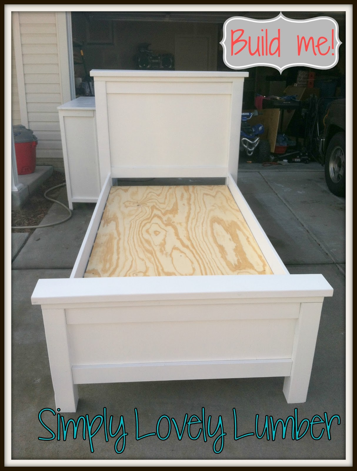 Simply lovely lumber farmhouse bed diy style for Farmhouse bed frame plans