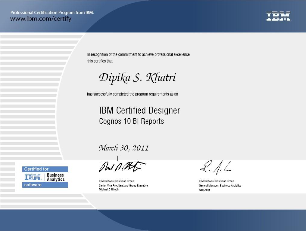 Diane Khatri Certified Ibm Cognos 10 Bi Author