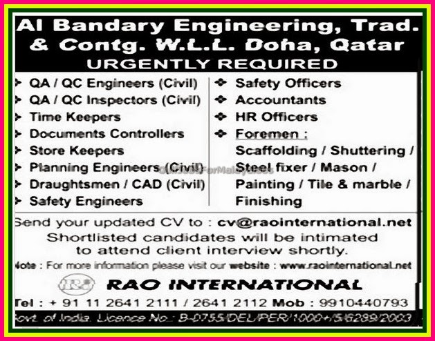 Al Bandary Engineering Doha Qatar Job Vacancies