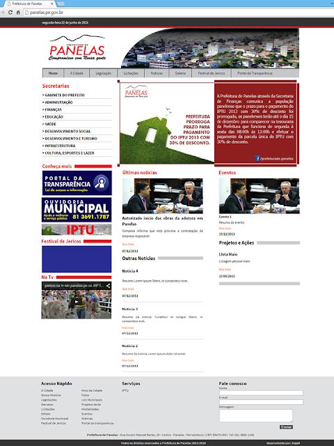 Site Oficial de Prefeitura de Panelas