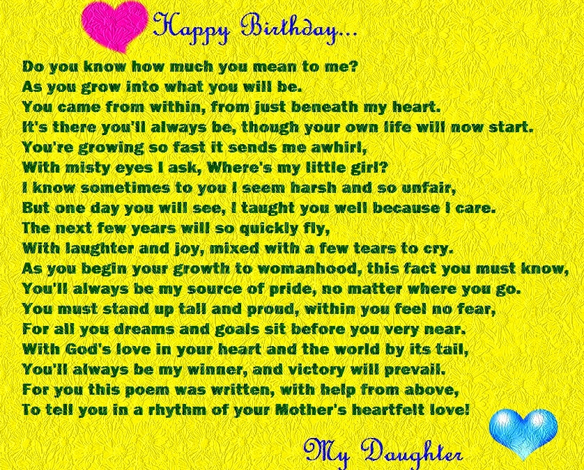 Happy Birthday Poems For Daughter From Mom And Dad