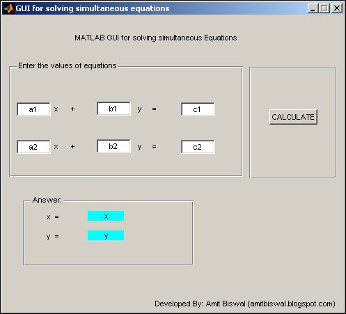 Image of MATLAB GUI for solving simulataneous equations