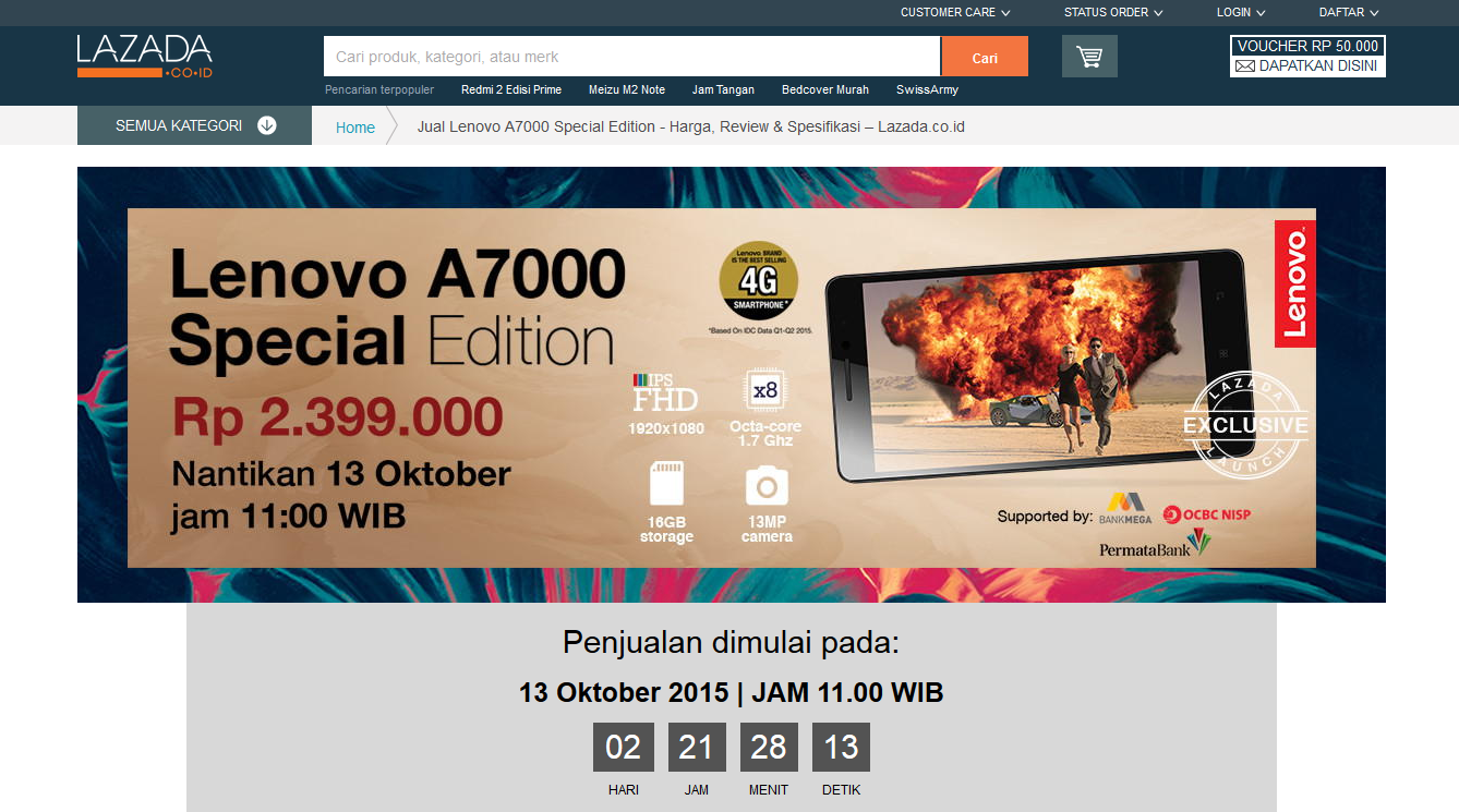 Jadwal Flash Sale Lazada Lenovo A7000 Special Edition
