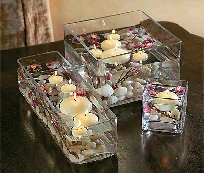 Decoraci n de bodas centros de mesa - Decoration de table avec bougies ...