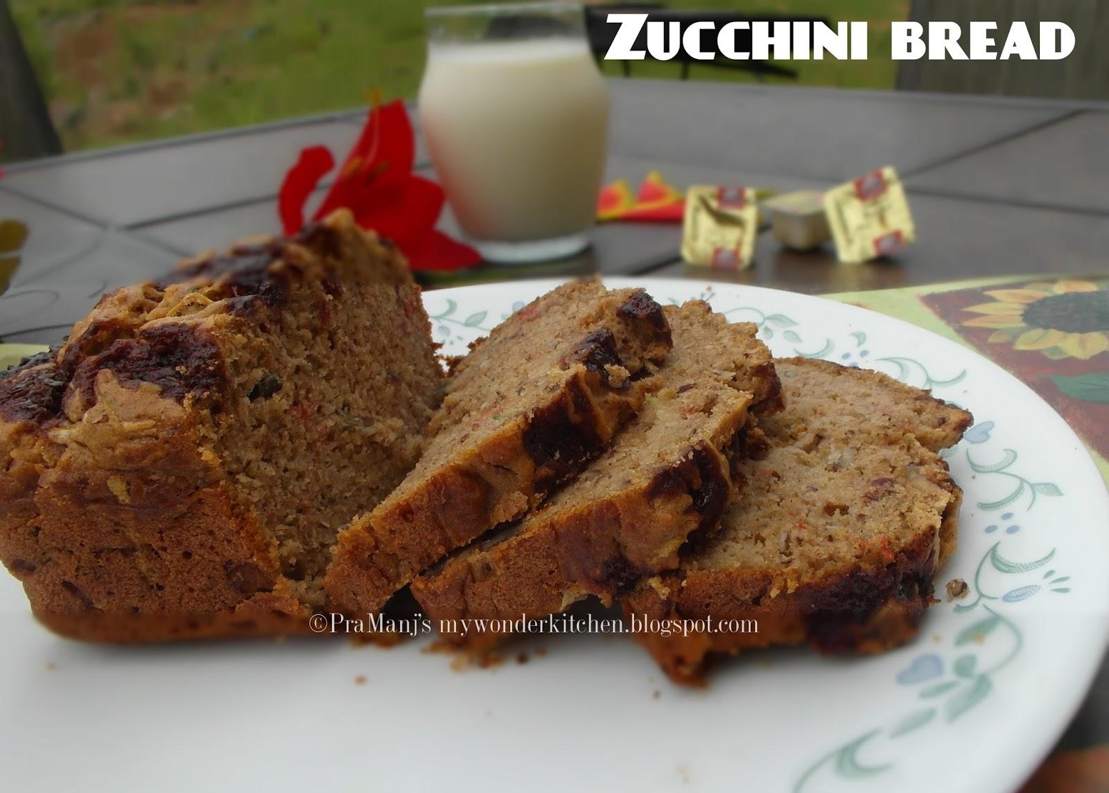 Sugar free whole wheat Zucchini Bread recipe
