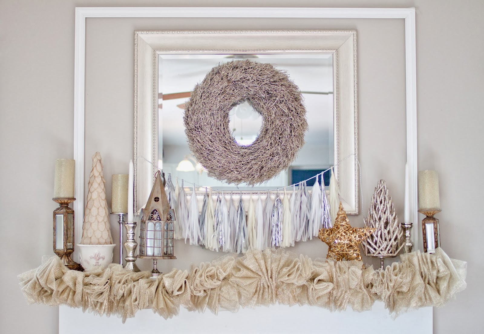 A Winter White Christmas Mantel