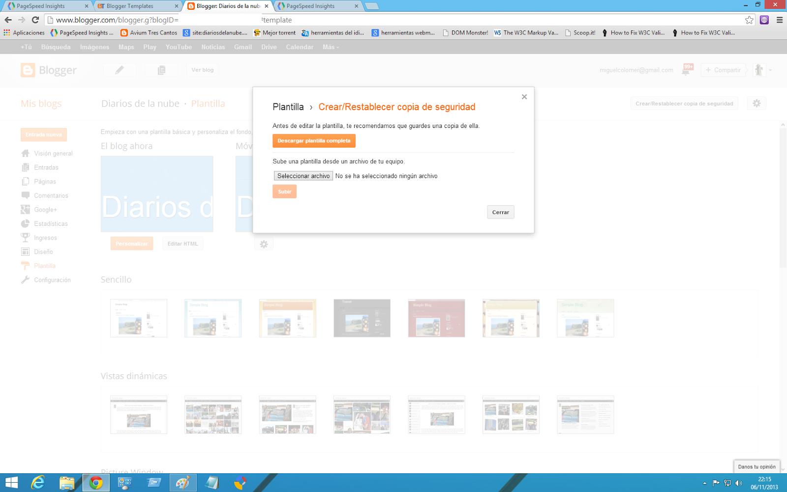 pantalla de selección de plantilla blogger