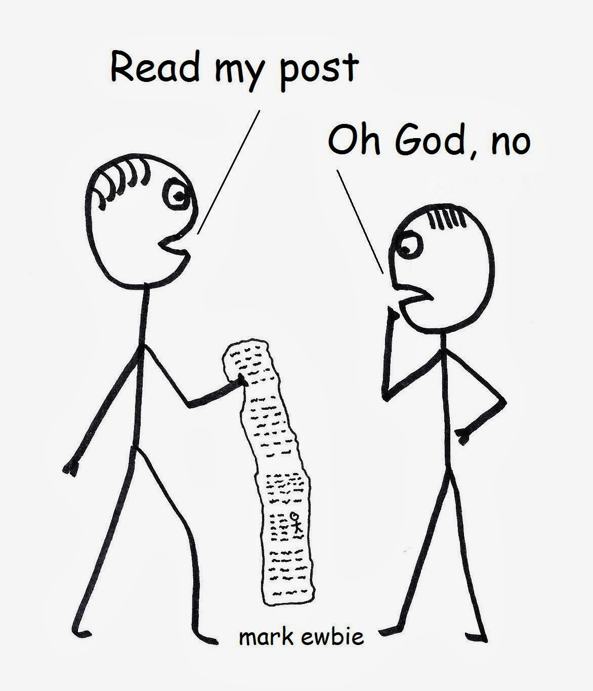 stickman shows his 500 word post to a friend
