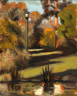 Oil painting of a green lamp-post in amongst Australian native trees and shrubs, with an ornamental pond in the foreground.