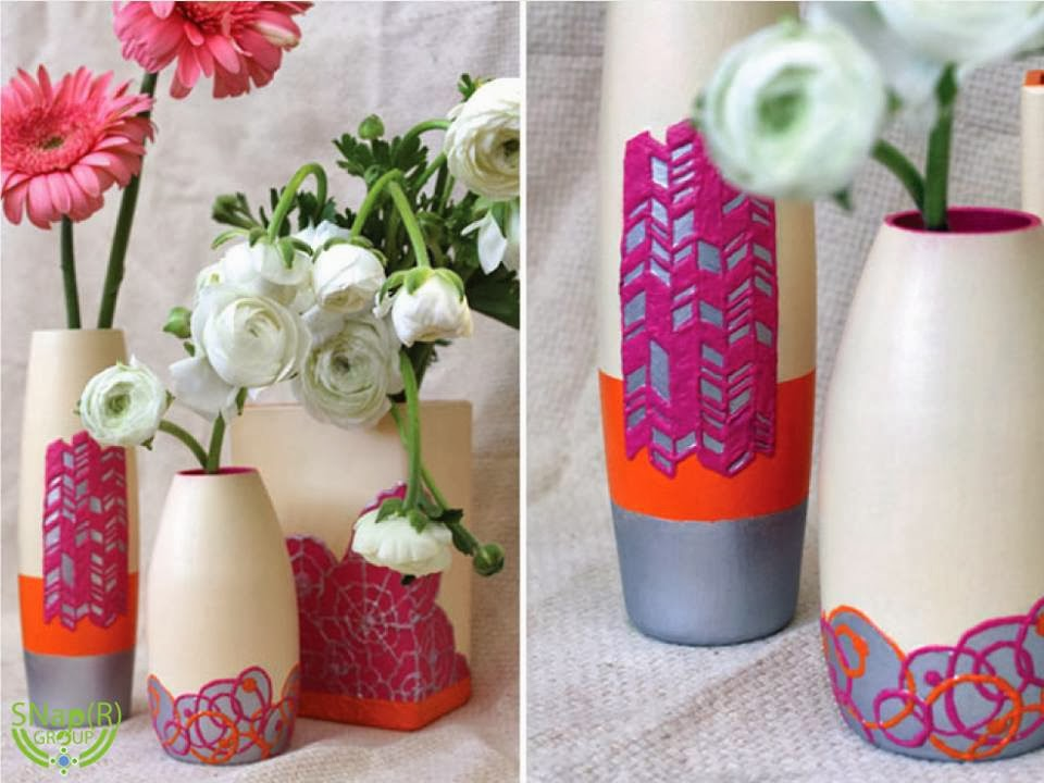 puffy paint blooming flowers DIY Vases