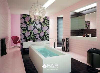 diseño de baño en rosa