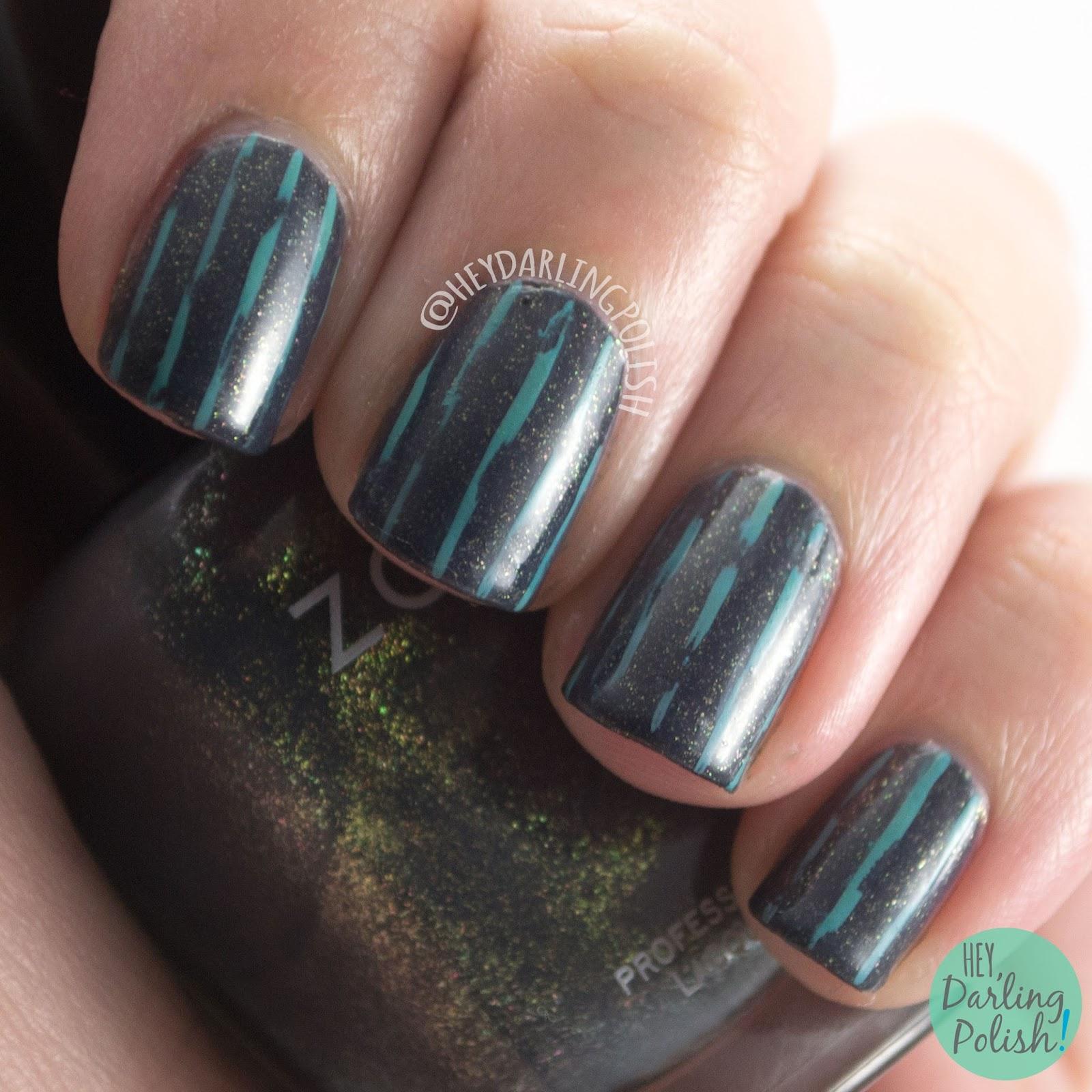 nails, nail art, nail polish, stripes, distressed, grey, hey darling polish, teal, 52 week challenge,