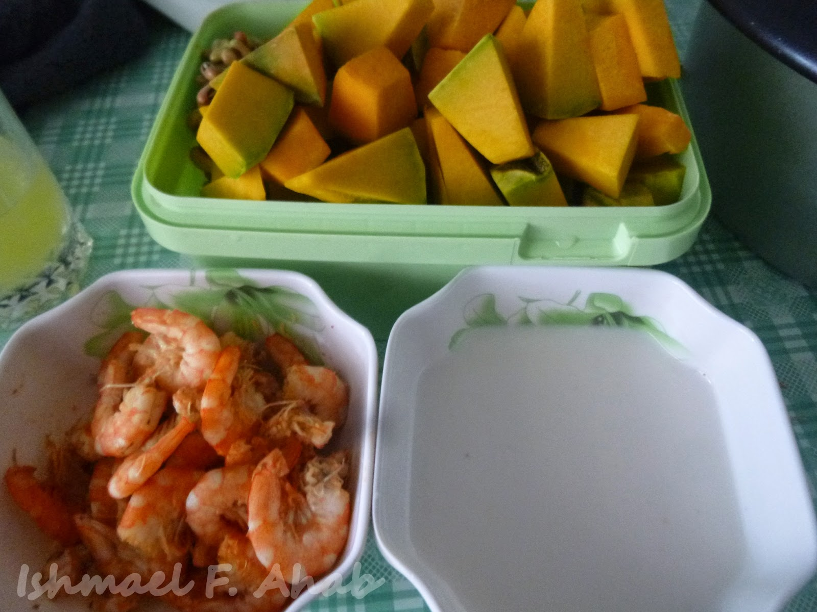kalabasa; sliced the sitaw, onions and bell pepper; and cut pieces of