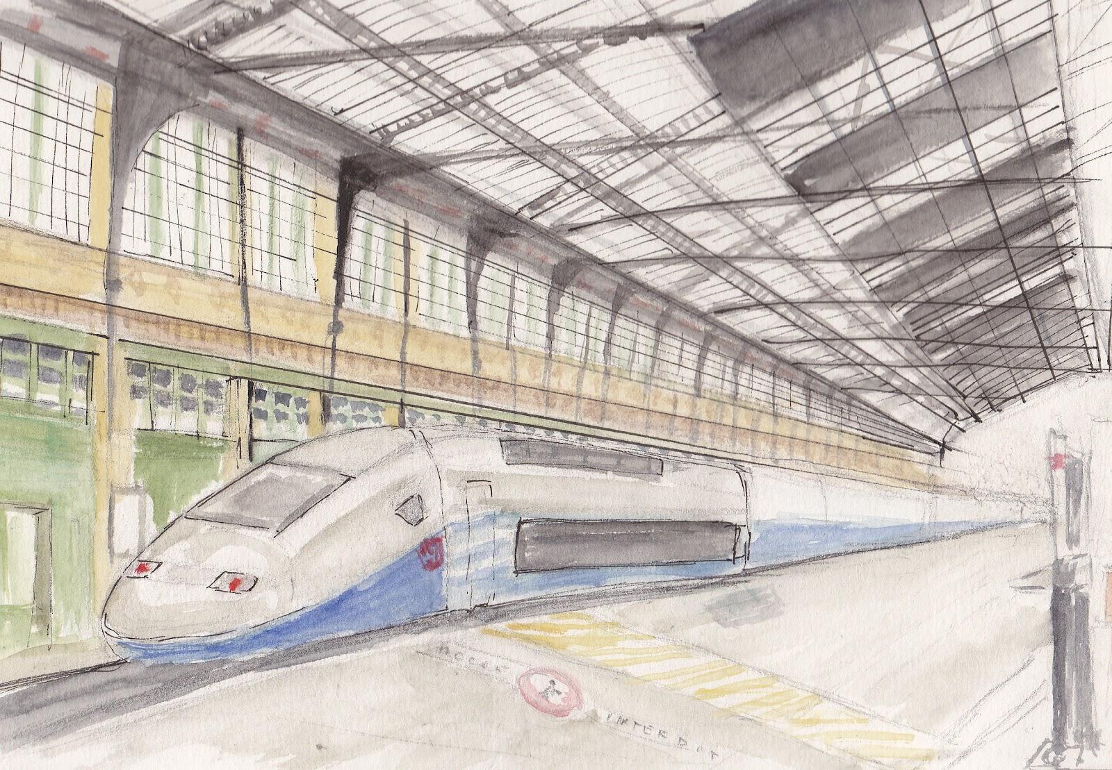 Urban sketchers paris mars 2012 - Train en dessin ...