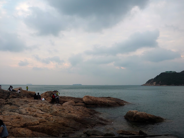 Rock formations in the ocean at the natural harbour at Stanley, Hong Kong
