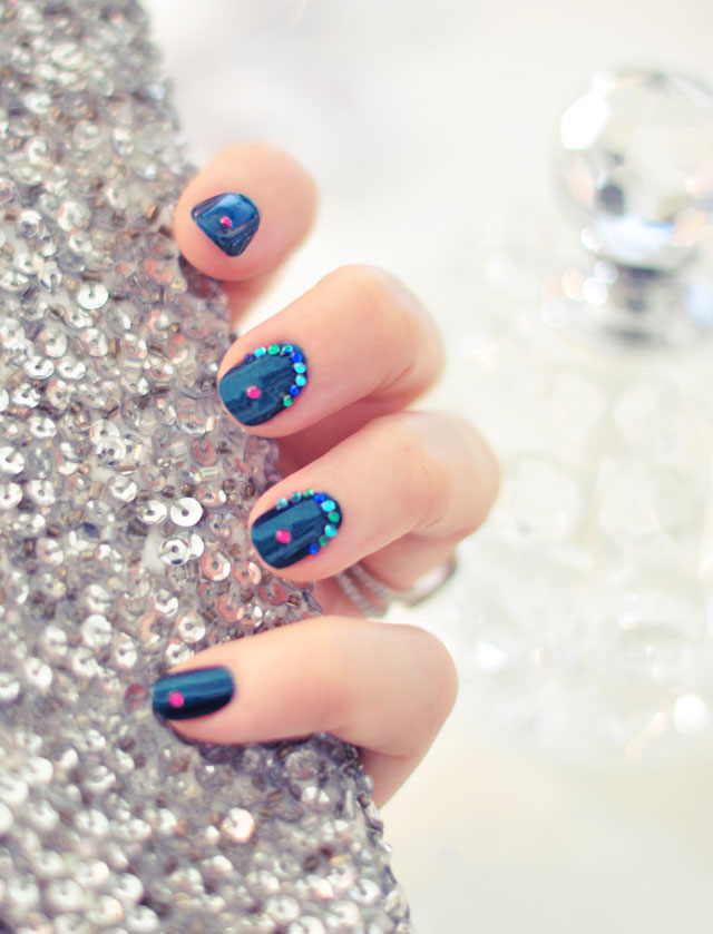 Jasmine Manicure | Deep Teal Nails w/ Gemstone Accents