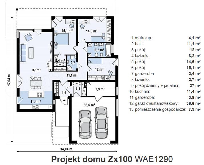 Nowoczesny Dom parterowy Zx100