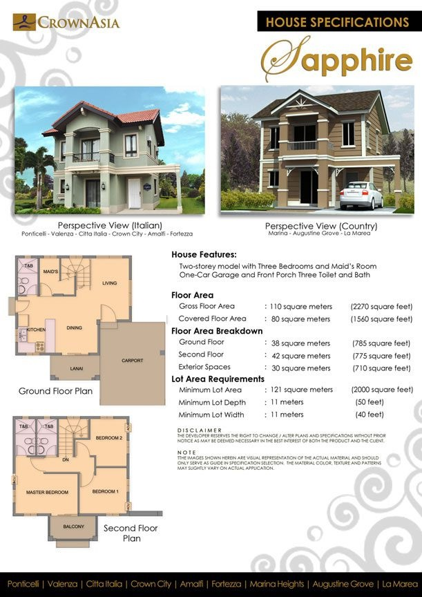 Single House For Sale In Marina Heights (Sapphire Model) At Lakefront,  Sucat Paranaque