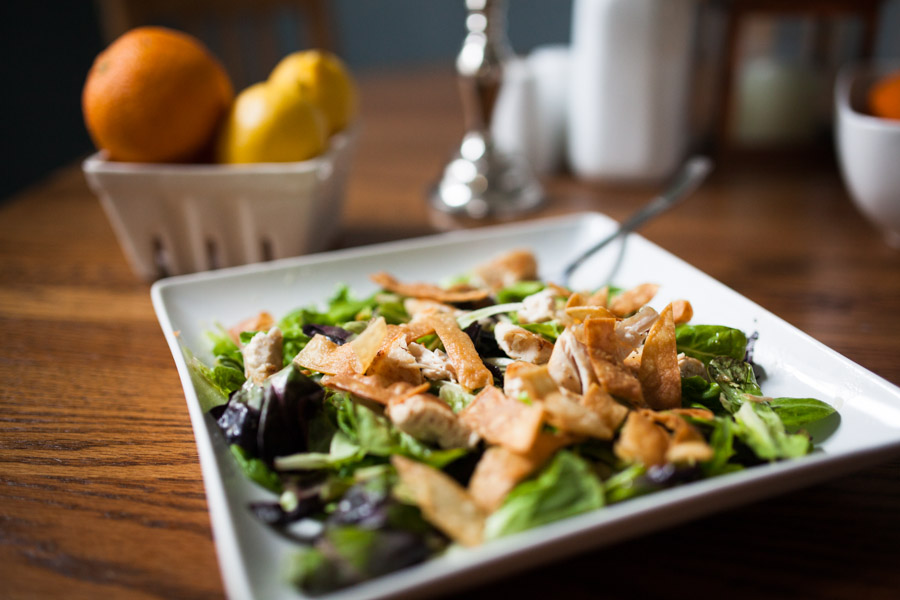 jenna laughs grilled chicken salad with orange segments and dressing