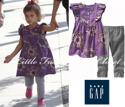Honor wore Purple Swirl Print Dress and Grey Leggings both from Sun Valley