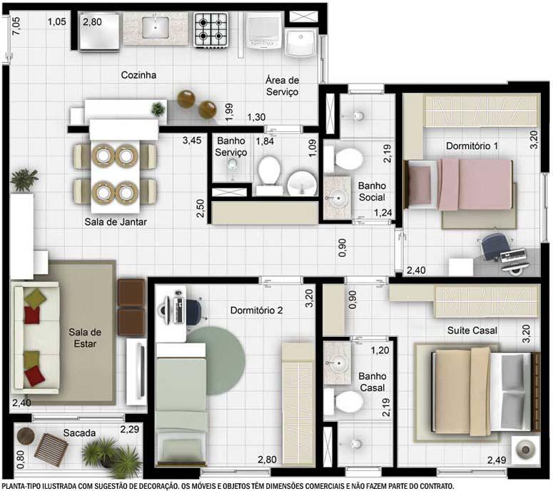 Lar doce lar planta com 60m2 com 1 su te e 2 quartos com for Diseno de apartamento de 60m2