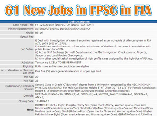 Inspector Investigation Jobs in FIA through FPSC