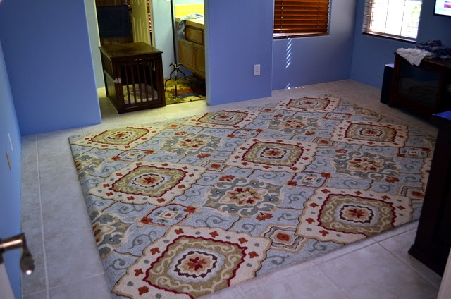 Diamond Scroll Rug, Blue from Pier 1