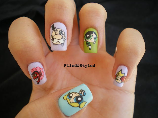 powerpuff girls nails