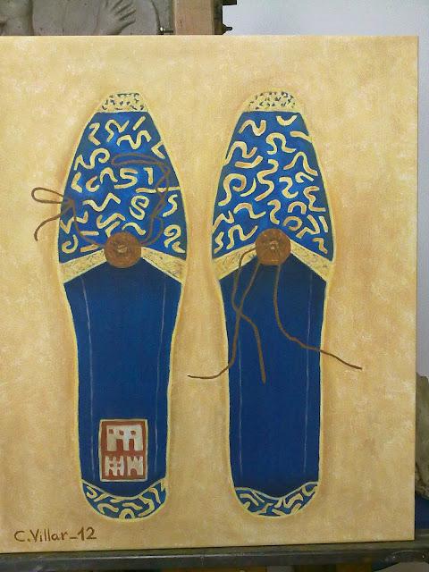 cuadro de zapatillas tradicionales