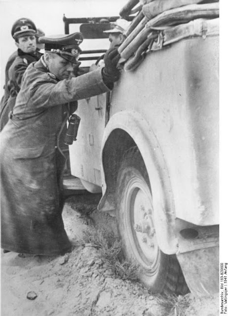 Rommel getting his car unstuck