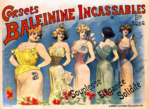 A vintage French ad for corsets showing various amounts of cleavage