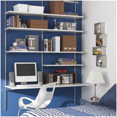 ORGANIZED DESK AND SHELVES DESIGN
