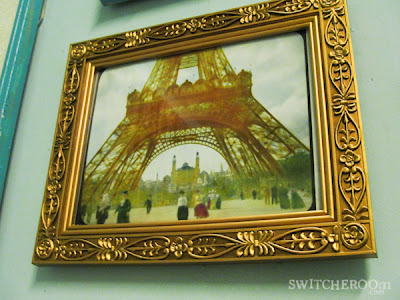 paris print, vintage print, gold frame