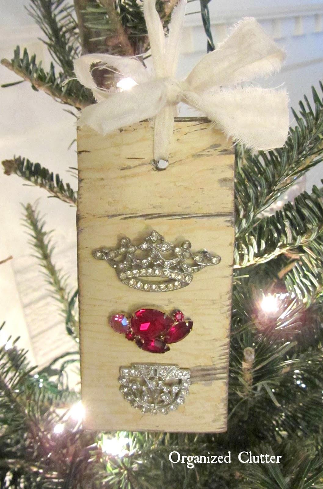 Vintage Earring & Salvaged Wood Ornament www.organizedclutterqueen.blogspot.com