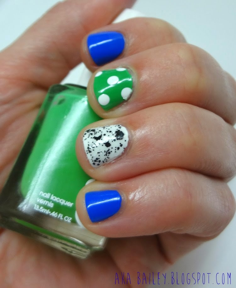 Polka dots on Essie Mojito Madness