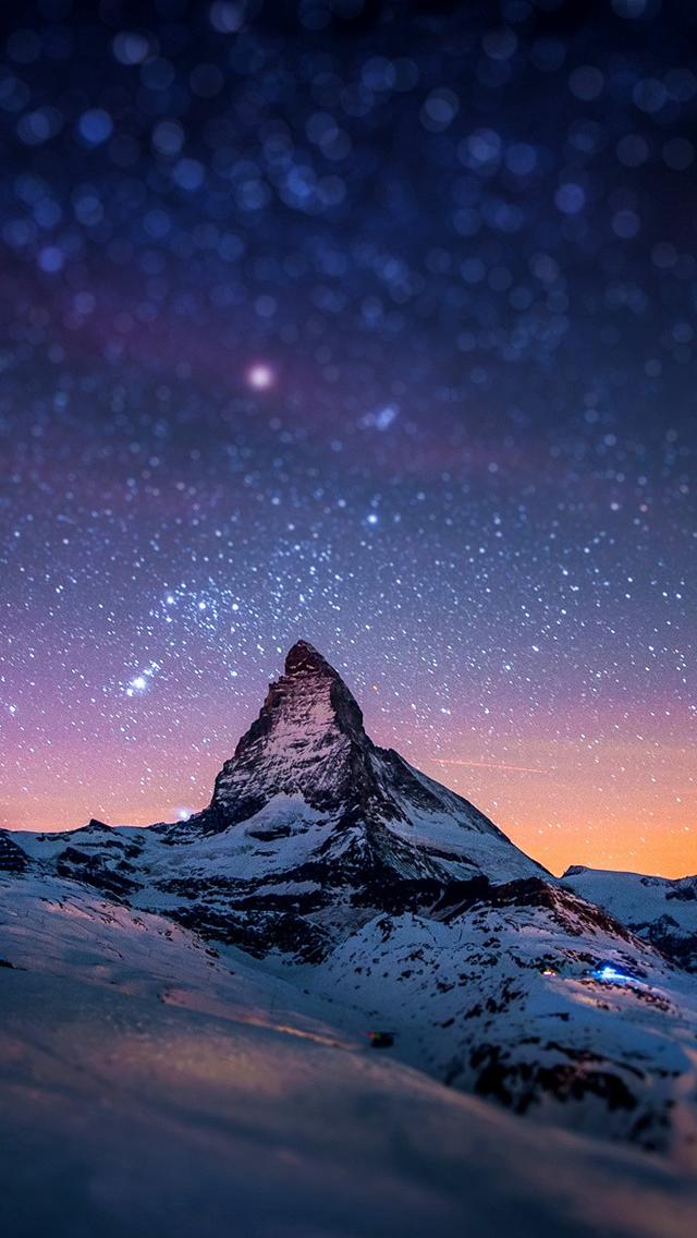 星空とマッターホルン